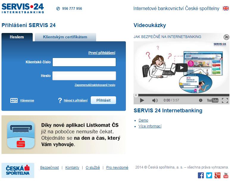 Internetové bankovnictví Servis24.cz