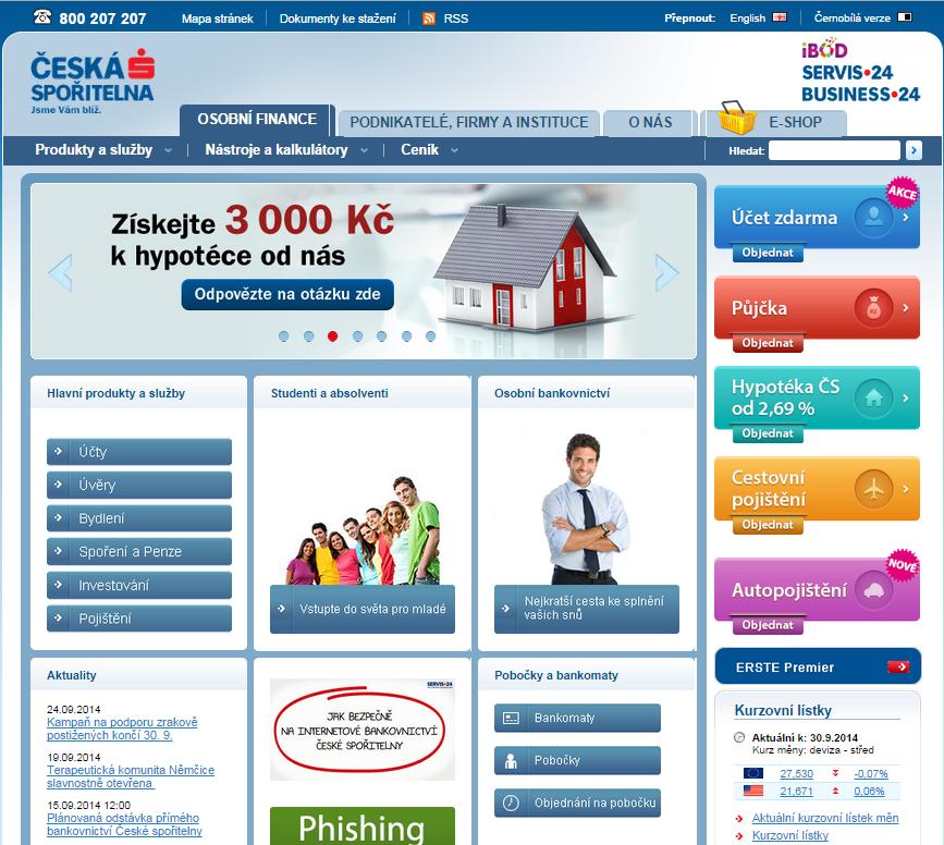 Oficiální stránky České spořitelny na adrese csas.cz