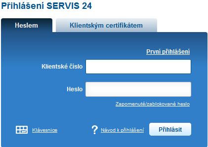 Vstup na účet Servis24 České spořitelny